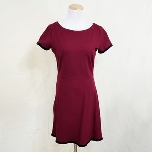 J. Crew Tipped Ponte dress dark red navy blue 4